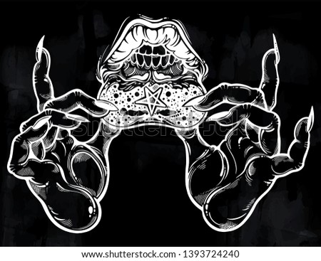 Witch hands showing a hidden lip tattoo occult extravaganza. Reverse Satanic pentagram, mystic lips and mouth with teeth. Ink art for print, posters, t-shirts textiles. Vector isolated illustration..