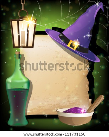 Witch hat, lantern, bottle of potion,  mortar with powder and ancient manuscript on a sparkling background. Magic accessories