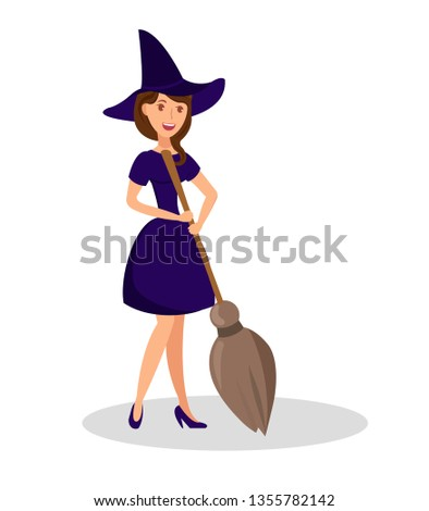 witch holding broomstick flat