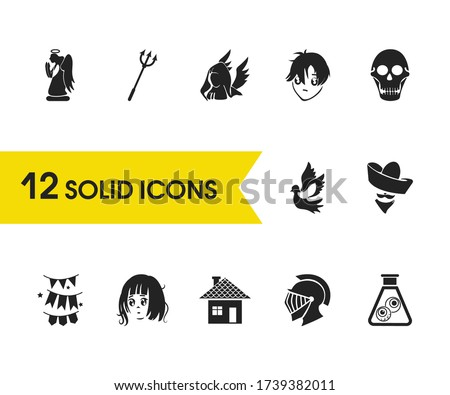 witch icons set with anime girl