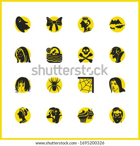 witch icons set with crossed