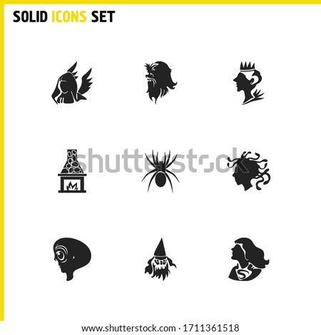 witch icons set with old