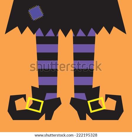 witch legs with orange stripes