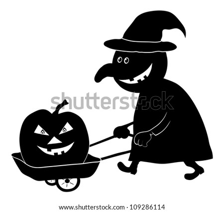 Witch on a cart driven by a pumpkin, the image of a holiday Halloween, black silhouette on white background. Vector illustration