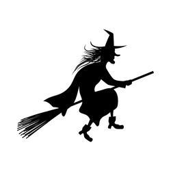 Witch On Broomstick  Over White Background for Creating Halloween Designs.  Vector illustration.