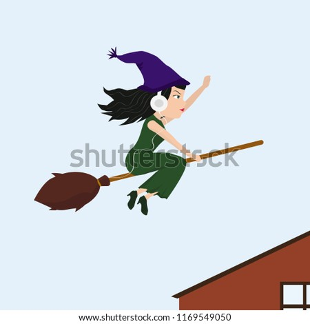 Witch on her way to work with headphones on