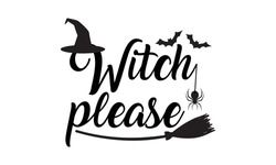 Witch please with Witch Hat, flying bat and Spider Halloween Vector and Clip Art