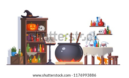 Witch room with boiling poison potion cauldron, cupboard, potion flasks, cats, magic book on stand, retort, table. Magician interior with magic accessories. Halloween clipart. Flat vector illustration