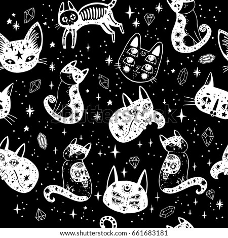 witch's cat seamless pattern