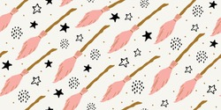 Witch seamless pattern. Elements for witches at school of magic in doodle style on dark background - pink flying broom, stars, polka dots for girls. Minimalistic halloween pattern on white background