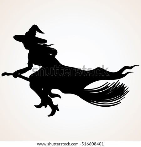 witch silhouette flying witch