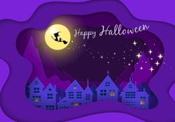 Witch silhouette on the moon above the town with sparkle glitter. Paper cut style in purple background.