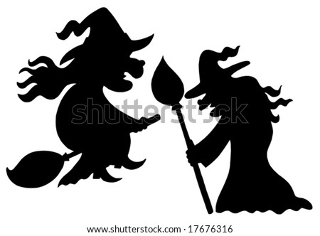 Witch silhouettes on white background - vector illustration Witch Head Silhouettes