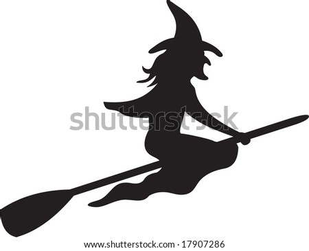 witch, vector - stock vector