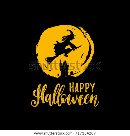 Witch vector illustration with Happy Halloween lettering for party invitation card, poster. All Saints' Eve background.