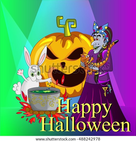 Witch with a cat and a rabbit magic potion brewed. pumpkin sinister laugh. card for Halloween #488242978