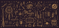Witchcraft, magic background for witches and wizards. Wicca and pagan tradition. Vector vintage collection. Hand drawn elements: candles, book of shadows, potion, tarot cards etc.