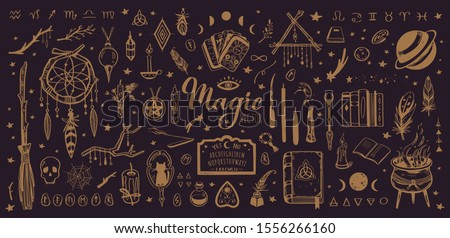 Witchcraft, magic background for witches and wizards. Wicca and pagan tradition. Vector vintage collection. Hand drawn elements: candles, book of shadows, potion, tarot cards etc. Сток-фото ©