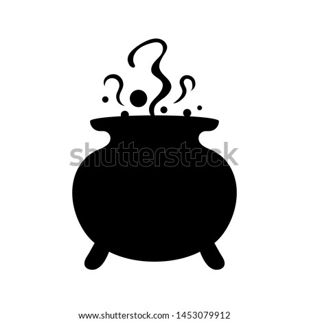 Witches black cauldron with boiling magic potion isolated on white background. Decorative element for Halloween. Vector illustration for any design. Stock photo ©