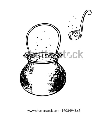 Witchs cauldron and ladle spoon with witchcraft potion. Magic elixir soup is brewed. Hand drawn halloween sketch black outline engraving tattoo. Stock vector illustration isolated on white background. Stock photo ©
