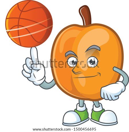 With basketball apricot cartoon character for nutritious maskot