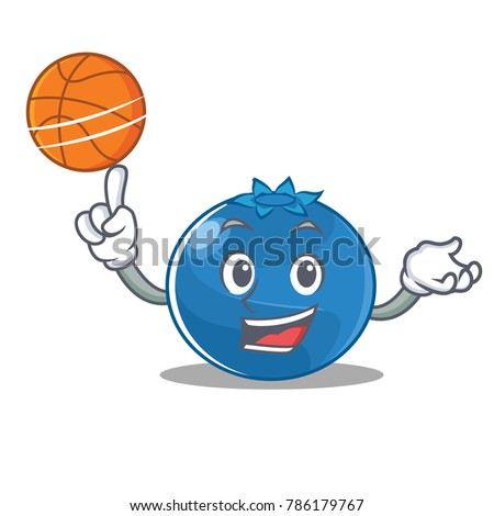 With basketball blueberry character cartoon style