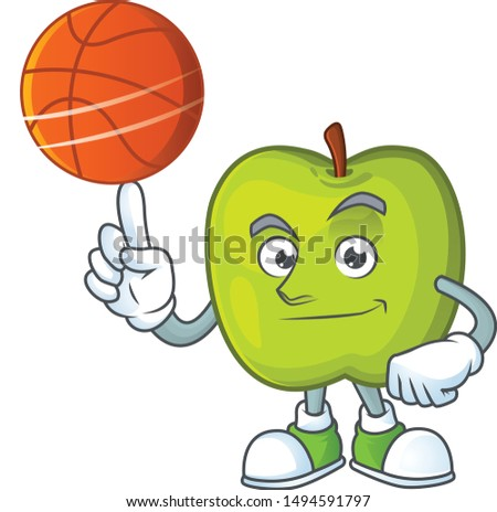 With basketball granny smith in a green apple character mascot