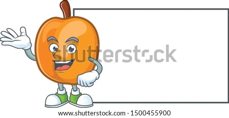 With board apricot cartoon character for nutritious maskot