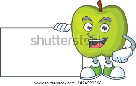 With board granny smith in a green apple character mascot