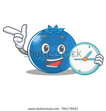 With clock blueberry character cartoon style