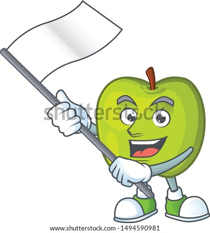 With flag granny smith apple character for health mascot