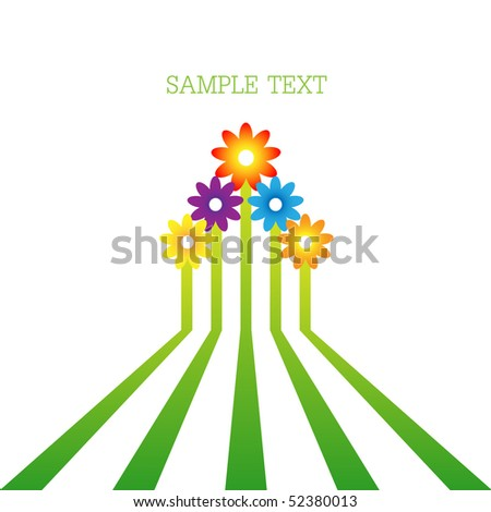 With flowers forming an arrow. Vector icon