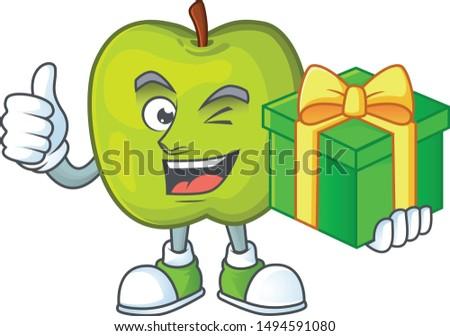 With gift granny smith green apple cartoon mascot
