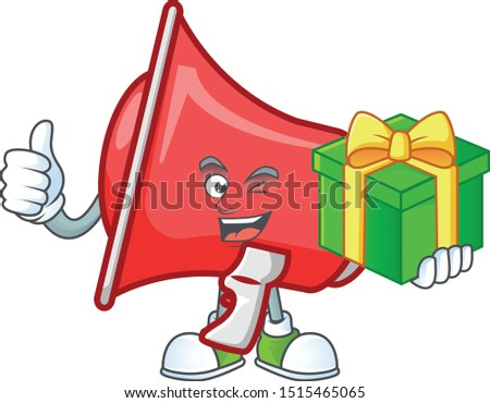 With gift red loudspeaker mascot on white background