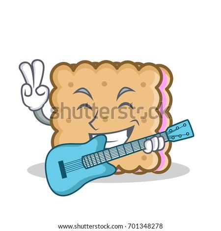 with guitar biscuit cartoon