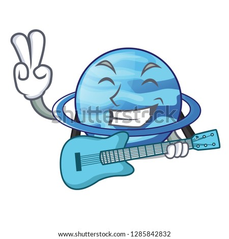 With guitar planet uranus in the cartoon form