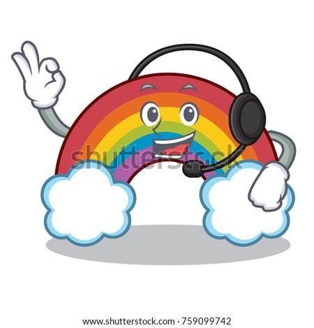 with headphone colorful rainbow