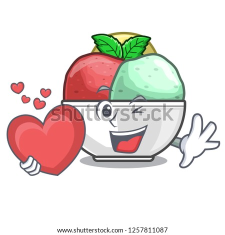With heart scoops of sorbet in isolated mascot