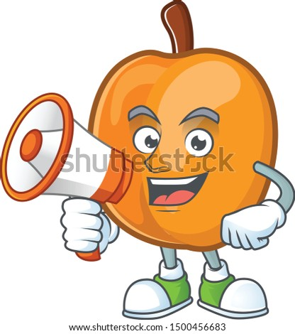 With megaphone apricot cartoon character for nutritious maskot