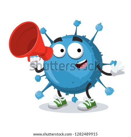 With megaphone cartoon blue virus cell character mascot on white background