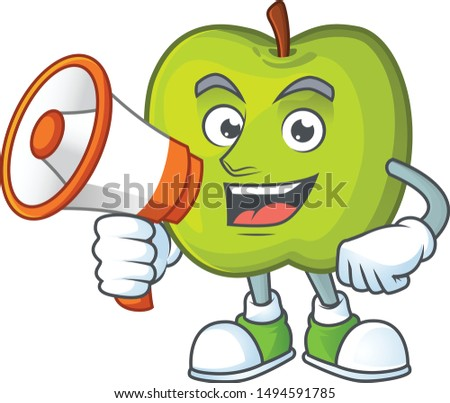 With megaphone granny smith in a green apple character mascot