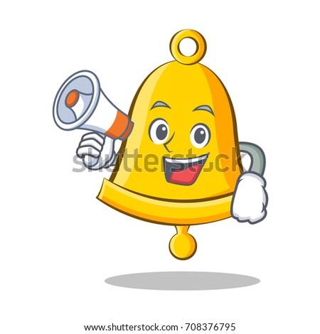 With megaphone school bell character cartoon