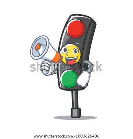With megaphone traffic light character cartoon