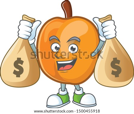 With money bag apricot cartoon character for nutritious maskot