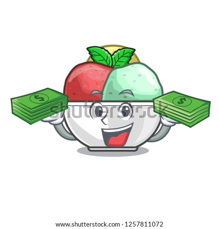 With money scoops of sorbet in isolated mascot