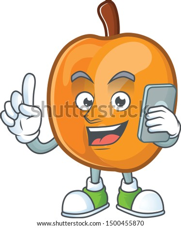 With phone apricot cartoon character for nutritious maskot