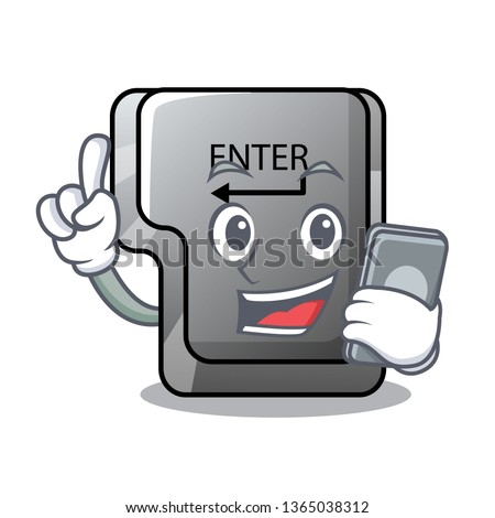 With phone button enter in the shape mascot