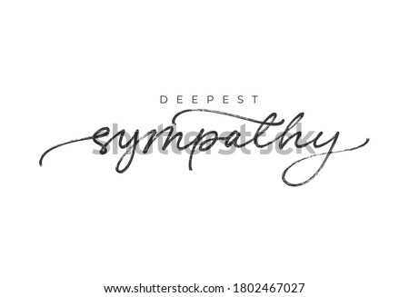 With sympathy hand drawn vector calligraphy. Ink brush black paint lettering isolated on white background. Modern phrase handwritten vector calligraphy. Postcard, greeting card, t shirt print. Foto stock ©