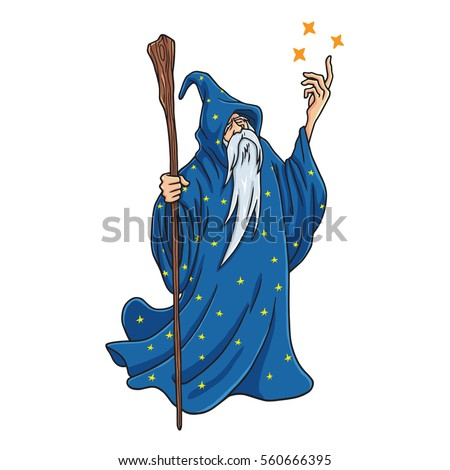 wizard cartoon with blue and