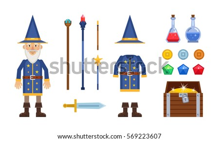 wizard character with different